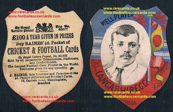 1890 Johnny Briggs legend Lancashire CCC bowler Baines cricket Widnes rugby  shield card